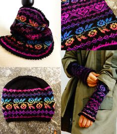 Love the colors, not so much the pattern: Ravelry: Rosie set: neck warmer, wristers and beanie pattern by Handy Kitty Mens Scarf Knitting Pattern, Fair Isle Knitting Patterns, Fair Isle Pattern, Beanie Pattern, Knit Patterns, Free Knitting, Knit Crochet, Crochet Hats, Neck Warmer