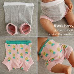 Socks to baby pants Part 3 – The 5 min Bonds nappy cover hac.-Socks to baby pants Part 3 – The 5 min Bonds nappy cover hack - Sewing Doll Clothes, Baby Doll Clothes, Sewing Dolls, Doll Clothes Patterns, Barbie Clothes, Clothing Patterns, Diy Clothes, Baby Outfits, Couture Bb