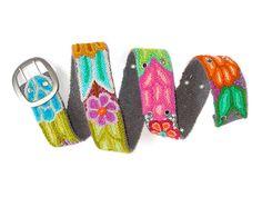Gray belt embroidered wool handmade belt floral by EmbroideryPeru