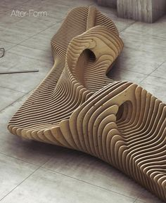 """Oleg Soroko is a young architect and designer based in Moscow, he presents his work on parametric design, which gave birth to the chair """"Scate"""" and a bench with organic shapes."""