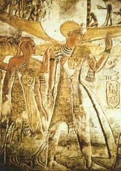 Pharao Ramses as priest accompanies the Holy Barque to Abu Simbel (Relief in the temple of El-Derr, Nubia. Photo: Ch. Desroches Noblecourt....
