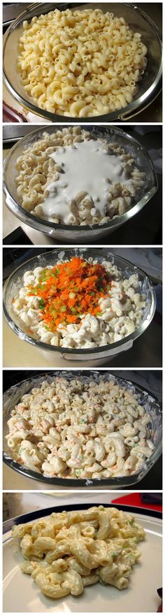 Hawaiian Macaroni Salad -  Ingredients:  1 lb elbow macaroni 1/2 cup apple cider vinegar 2 cups whole or 2% milk, divided (skim or 1% is just too thin) 2 cups mayonnaise, ideally Best Foods' or Hellmann's, divided 1 Tbsp brown sugar 4 green onions, thinly sliced 1 large carrot, peeled & grated 1 celery stalk, minced Salt & pepper
