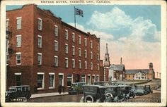 White Border Postcard Empire Hotel Timmins, ON Canada Ontario Empire Hotel, Quebec, Canada Ontario, Street View, City, Places, Bears, History, Lugares