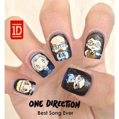 One Direction nail art. Best Song Ever nails One Direction Nails, One Direction Logo, One Direction Drawings, One Direction Photos, Love Nails, Pretty Nails, My Nails, Band Nails, Beste Songs