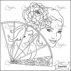 Masjas zodiac sign Taurus Coloring Page made by Masja van den Berg - featuring 1 hand-drawn design for you to bring to life with color! Is Taurus