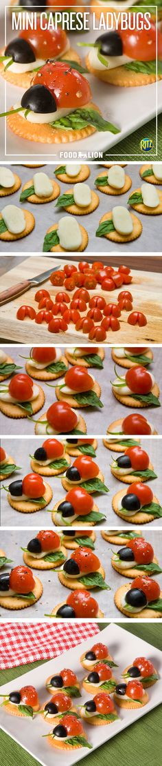 You'll love these tiny versions of a Caprese salad. They're a great appetizer to make for spring! Finger Food Appetizers, Appetizers For Party, Appetizer Recipes, Food Styling, Kids Meals, Easy Meals, Good Food, Yummy Food, Tasty