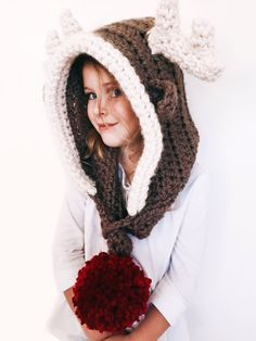 Rudy the Reindeer Hood by Two of Wands // Pattern for Crochet Reindeer Hat Rudolph Hooded Cowl Scarf // Toddler Child Adult Sizes