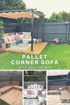 How I made a simple yet effective pallet corner sofa out of 9 Euro pallets for my garden. How I made a simple yet effective pallet corner sofa out of 9 Euro pallets for my garden. Backyard Patio Designs, Backyard Projects, Small Backyard Landscaping, Pallet Landscaping Ideas, Pallet Garden Projects, Corner Landscaping, Small Backyard Design, Backyard Seating, Outdoor Projects