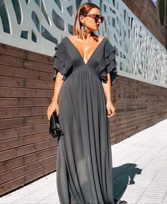 Product Details: V-neck Ruffled Sleeves Empired Waistline A-Line Maxi Dress for Evening Size Chart: Size Bust Waist Hips inch cm inch cm inch cm S 36 M L XL 3 Cute Dresses, Beautiful Dresses, Casual Dresses, Fashion Dresses, Prom Dresses, Summer Dresses, Casual Wear, Look Fashion, Womens Fashion