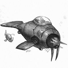 or more like a submarine either way it counts as a robot lol. by shaunmichaelkeenan Love Drawings, Animal Drawings, Submarine Drawing, Animal Robot, Spaceship Design, Robot Concept Art, Modelos 3d, Cool Animations, Creature Design