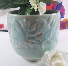 Nelson McCoy Teal Green Butterfly Jardiniere Cache by acornabbey