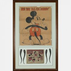 A Framed Mickey Mouse 'Pin the Tail on the Mouse' Party