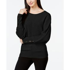 Alfani Ribbed Dolman-Sleeve Sweater, ($45) ❤ liked on Polyvore featuring tops, sweaters, deep black, alfani, ribbed top, rib sweater, dolman-sleeve sweater and black sweater