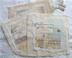 During the last few days I've also been putting together some really tiny fragments of fabric, layering them onto some old calico that came from the body of our old settee before it retired f… Fabric Art, Fabric Crafts, Fabric Books, Embroidery Stitches, Hand Embroidery, Creative Textiles, Stitch Book, Fabric Journals, Art Textile