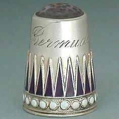 Antique-Norwegian-Enameled-Sterling-Silver-Thimble-by-Marius-Hammer-Early-20-C