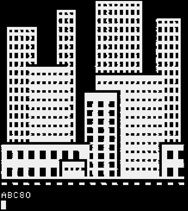 Simon Ekstrand, Text mode 40 x 24 monochrome Teletext, 78 x 75 block graphics made on the ABC80 computer in the 80s.