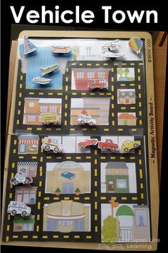 Vehicle Town is a fun way to let my toddler play with cars and trucks and things that go, and I'm sharing the free printable as well.  Vehicle Town Magnets Busy Bag {Workbox Wednesday} | Line upon Line Learning blog www.RebeccaReid.com