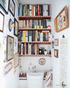 Книжный стеллаж в туалете