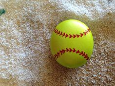 Painted softball stone SNS DESIGNS