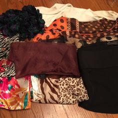 Bundle of 8 light weight scarves This is a bundle of 8 light scarves. All are older and previously loved. They are varied weights and sizes. All are still in wearable condition for your neck, hair or purse. Accessories Scarves & Wraps
