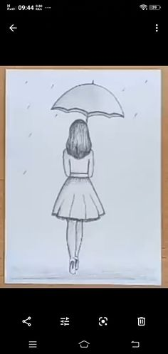 Girl Drawing Easy, Girl Drawing Sketches, Girl Sketch, Cool Art Drawings, Pencil Art Drawings, Colorful Drawings, Easy Drawings, Umbrella Painting, Painting Flowers