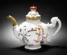 A rare Meissen silver-gilt-mounted teapot from the 'Gelber Löwe' service for the Saxon/Polish court, circa 1770