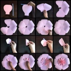 Hey guys I just finished making this fun paper flower tutorial I used my templates 116 and 1 I say this a lot and it's so true SO MANY… Paper Flower Patterns, Paper Flowers Craft, Paper Flower Tutorial, Flower Crafts, Diy Flowers, Paper Crafts, Giant Paper Flowers, Flower Template, Pink Paper