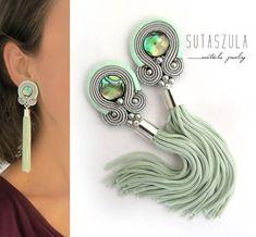 Soutache jewelry: earrings necklaces and bracelets от sutaszula Green Tassel Earrings, Mint Earrings, Teal Jewelry, Tassel Jewelry, Shibori, Soutache Necklace, Earring Trends, Bead Embroidery Jewelry, How To Make Beads