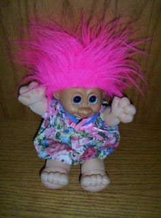 """Russ Troll Doll Soft Body Plush 10"""" Pink Hair Blue Eyes Floral Outfit #RussBerrieCo"""