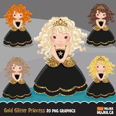 Glitter characters clipart, Black Princess graphics   Mujka Clipart, Printable, Characters & Custom Graphic Design