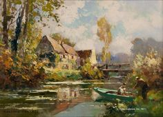 Edouard Leon Cortes (1882 - 1969) A Little River in Normandie