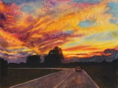 Sunset  landscape painting original watercolor by by CathyHillegas, $395.00