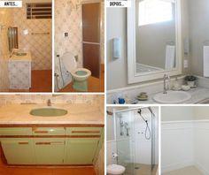 Antes e Depois: pintura de azulejo com massa Azulejos Diy, Flooring, Cabinet, Architecture, Storage, Kitchen, Room, House, Diy Casa