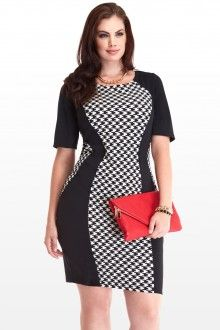 Plus Size Houndstooth Panel Dress