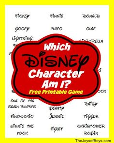 """Disney Character Am I?"""" - Printable Disney Game """"Which Disney Character Am I?"""" - Printable Disney Game -- a fun thing to do before visiting the park!""""Which Disney Character Am I?"""" - Printable Disney Game -- a fun thing to do before visiting the park! Disney Themed Games, Disney Activities, Car Games For Kids, Fun Games, Family Game Night, Family Games, Disney Vacations, Disney Trips, Disney Cruise"""