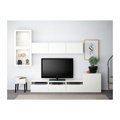 BESTÅ TV storage combination/glass doors, Lappviken, Sindvik white clear glass Lappviken/Sindvik white clear glass 118 1/8x7 7/8/15 3/4x83 1/8