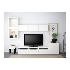 BESTÅ TV storage combination/glass doors - Lappviken/Sindvik white clear glass, drawer runner, soft-closing - IKEA