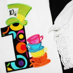 Mad Hatter Tea Party, Hat and 4 types of stack of topsy turvey tea cups INSTANT DOWNLOAD - machine embroidery applique designs - 4x4 and 5x7