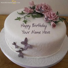 Anh Nhat write girl name on butterfly birthday cake picture. happy birthday wishes greetings for girl. butterflies girly birthday cake with gild name print. beautiful butterfly design birthday day cake set whats app dp Girly Birthday Cakes, Online Birthday Cake, Birthday Cake Writing, Butterfly Birthday Cakes, Special Birthday Cakes, Happy Birthday Cake Images, Birthday Wishes Cake, Birthday Cake With Flowers, Birthday Cake Pictures