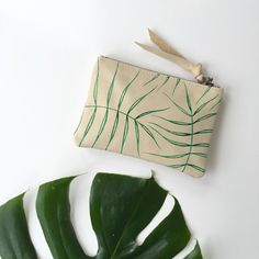 Wild Fern Leather Zipper Pouch by kertis on Etsy