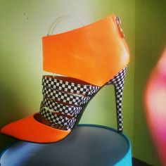 Red Kiss Heels Orange heels w/ black and white check s Shoes Heels