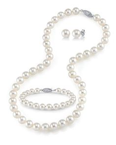 White Freshwater Cultured Pearl Necklace, Bracelet and Earrings Set, 18' - AAA Quality -- Continue to the product at the image link. (This is an affiliate link and I receive a commission for the sales)