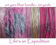 Scrapbooking yarn variety pack samples, shiny pink lavender purple fiber art yarn card bundle 20 yards, cardmaking assorted assortment i435