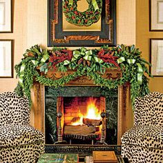 Dressed-Up Christmas Mantels | Decorate a Holiday Mantel | SouthernLiving.com Chairs too, wow..