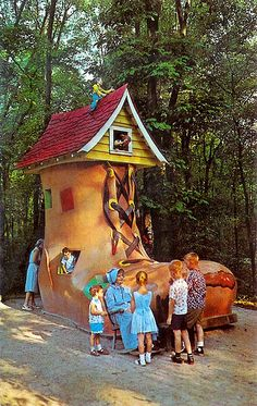 Vintage 1960s postcard of the Old Lady in the Shoe - Story Book Forest, Ligonier, Pennsylvania.