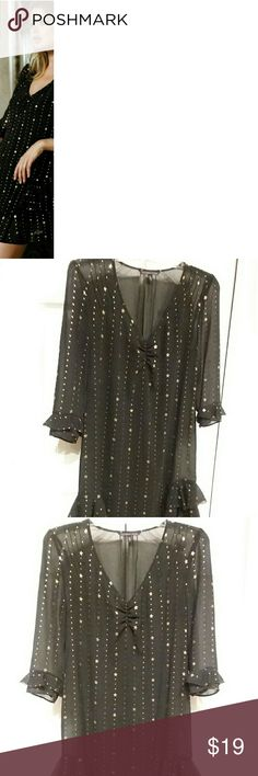 Victoria's Secret Starry Dress with Underslip Black with gold stars, ruffles on sleeves and on sides of dress at bottom. Slip over dress. Sheer soft sexy material. Underslip included,shown in last photo. Worn once. Lovely for an evening rondevou under the starry night sky❤ Victoria's Secret Dresses