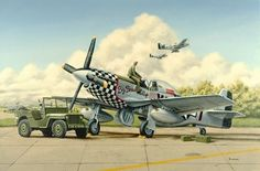 """Primping the Doll"" by Mike Newcomer -- A ground crewman puts the final touches on the P-51 Mustang ""Big Beautiful Doll"" flown by the 78th Fighter Group commander J.D. Landers in England 1944. Due to the great success of the Mustang, the Senate War Investigating Committee set up by Harry Truman in 1944, called it ""the most aerodynamically perfect pursuit plane in existence."""