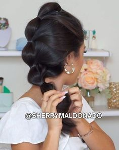 Sherry Maldonado  sexy  hair  hairstyle   Hair   Pinterest   Teen     Super easy bubble braid or how would you called this hairstyle          let me  know