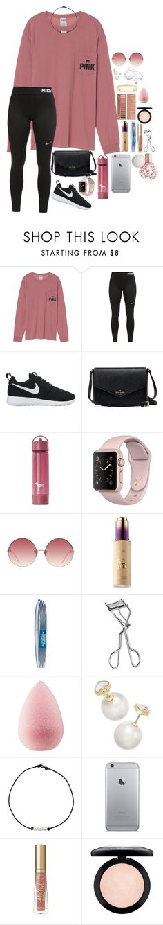 """« pink skies »"" by lizxlol on Polyvore featuring Victoria's Secret, NIKE, Linda Farrow, Sephora Collection, L'Oréal Paris, Lancôme, beautyblender, Kate Spade, Too Faced Cosmetics and Urban Decay"