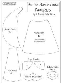 Moldes da Fofurices Bella Manu gratuito para imprimir - Como Fazer Disney Ornaments, Felt Ornaments, Anna E Elsa, Frozen Dolls, Felt Templates, Applique Templates, Applique Patterns, Star Patterns, Card Templates